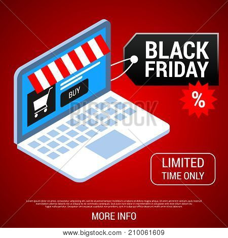 Black friday sale tag on laptop with online shop