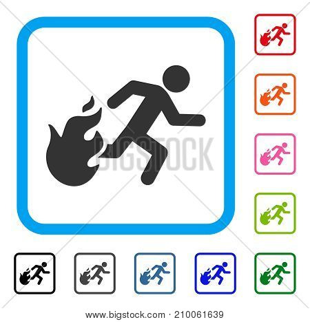 Fired Running Man icon. Flat gray iconic symbol inside a light blue rounded square. Black, gray, green, blue, red, orange color additional versions of Fired Running Man vector.
