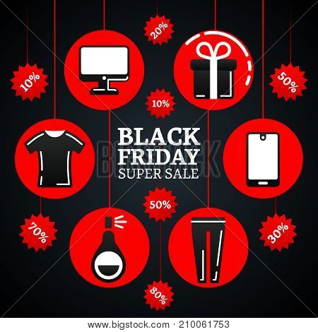 Black friday super sale illustration with electronic, fashion clothes and gifts on tags