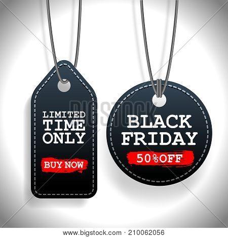 Set of Black Friday sale black tags, advertising, vector illustration.