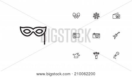 Collection Of Flower, Card, Video And Other Elements.  Set Of 10 Cocktail Outline Icons Set.