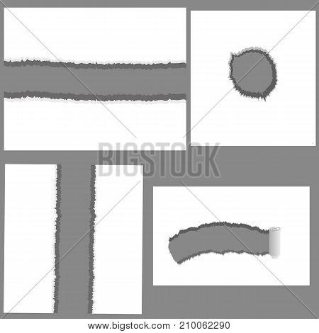 illustration with set of holes isolated on white background