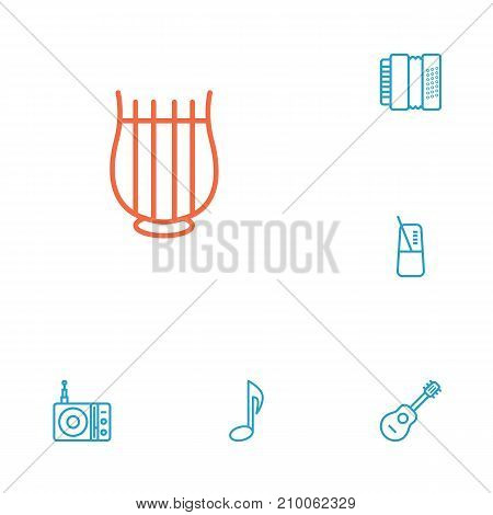 Collection Of Musical Sign, Pace, Acoustic And Other Elements.  Set Of 6 Melody Outline Icons Set.
