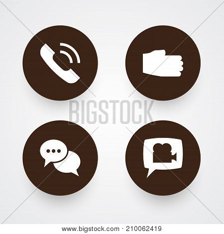 Collection Of Call , Talk , Hand Elements.  Set Of 4 Backing Icons Set.