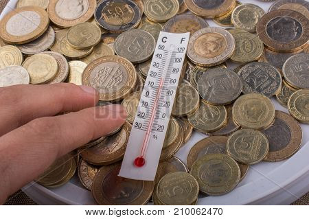 Thermometer instrument and Turkish Lira coins on a background