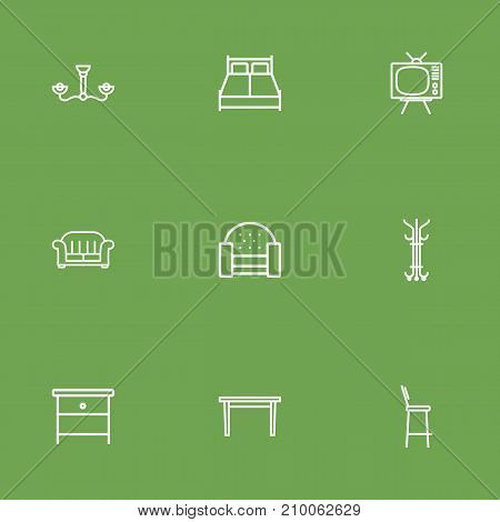 Collection Of Armchair, Sofa, Bar Stool And Other Elements.  Set Of 9 Situation Outline Icons Set.