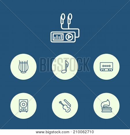 Collection Of Loudspeaker, Stringed, Vinyl And Other Elements.  Set Of 7 Melody Outline Icons Set.