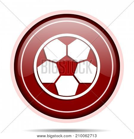 Soccer red glossy round web icon. Circle isolated internet button for webdesign and smartphone applications.