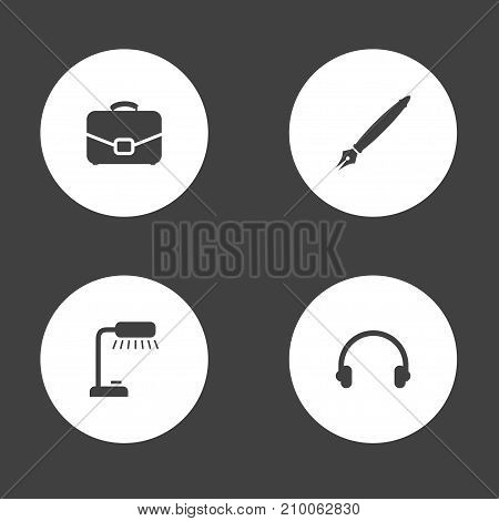 Collection Of Table Lighter, Pen, Earmuff And Other Elements.  Set Of 4 Bureau Icons Set.