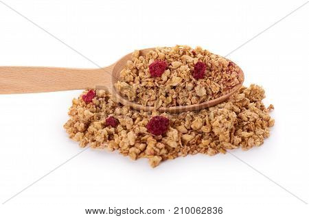 Homemade Granola With Dried Fruits In Wooden Spoon Isolated On White Background