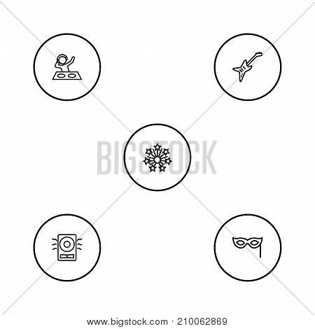 Collection Of Electro, Mask, Amplifier And Other Elements.  Set Of 5 Cocktail Outline Icons Set.
