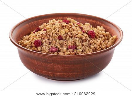 Homemade Granola With Dried Fruits In Ceramic Jar Isolated On White Background