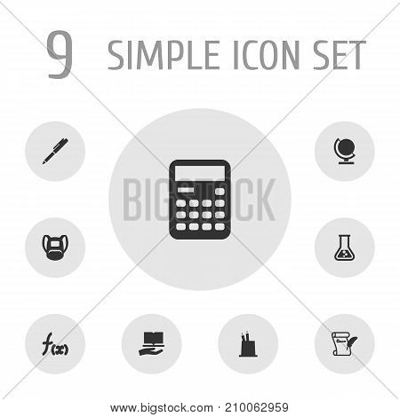 Collection Of Writing, Flask, Accounting And Other Elements.  Set Of 9 Knowledge Icons Set.