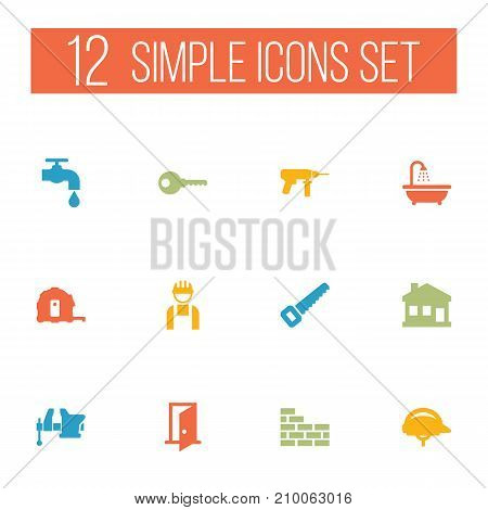 Collection Of Meter, Electric Screwdriver, Hacksaw And Other Elements.  Set Of 12 Construction Icons Set.
