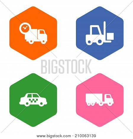 Collection Of Cab, Transportation, Van And Other Elements.  Set Of 4 Delivery Icons Set.