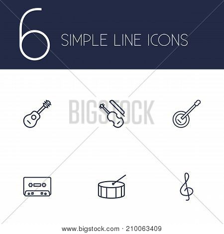 Collection Of Percussion, Acoustic, Note And Other Elements.  Set Of 6 Melody Outline Icons Set.