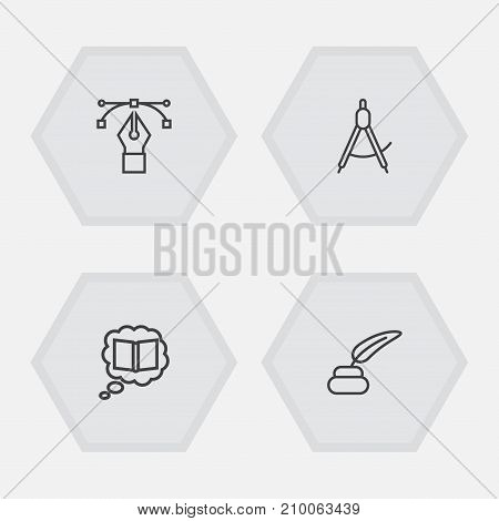 Collection Of Bezier Curve, Inkwell With Pen, Knowledge And Other Elements.  Set Of 4 Constructive Outline Icons Set.
