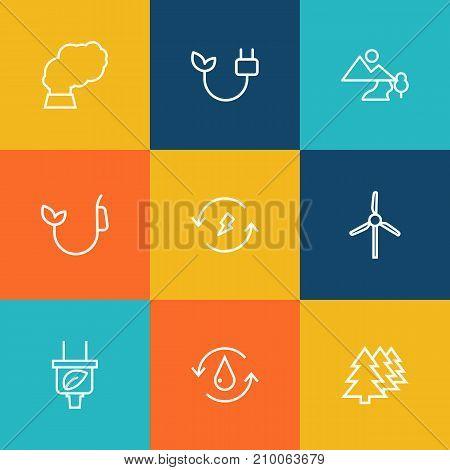 Collection Of Afforestation, Landscape, Electricity Elements.  Set Of 9 Bio Outline Icons Set.