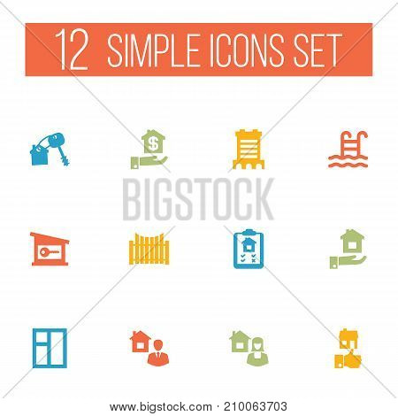 Collection Of Property, Barrier, Real Estate Agent And Other Elements.  Set Of 12 Estate Icons Set.