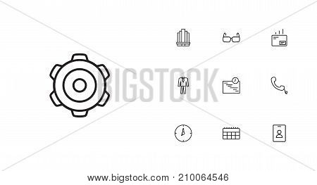 Collection Of Suit, Clock, Glasses And Other Elements.  Set Of 10 Trade Outline Icons Set.