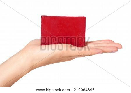 Natural Soap Bar In Hand Isolated On White Background
