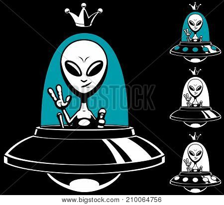 Cartoon alien king in his flying saucer and in 4 versions.