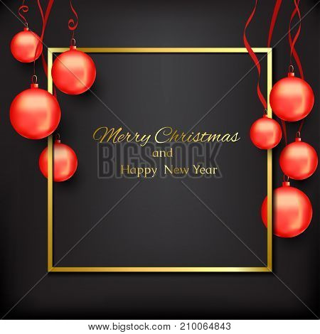 banner with christmas with red christmas balls on a black background. Congratulations Merry Christmas