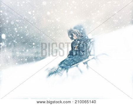 Boy Sliding Snowy Hill