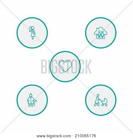 Collection Of Parents, Grangmother, Soul And Other Elements.  Set Of 5 People Outline Icons Set.