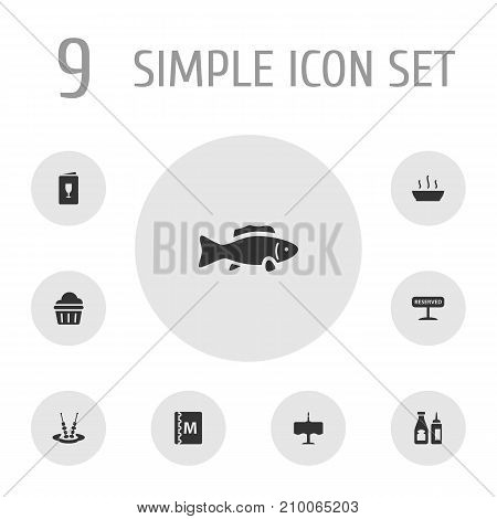 Collection Of Book, Muffin, Registered And Other Elements.  Set Of 9 Cafe Icons Set.