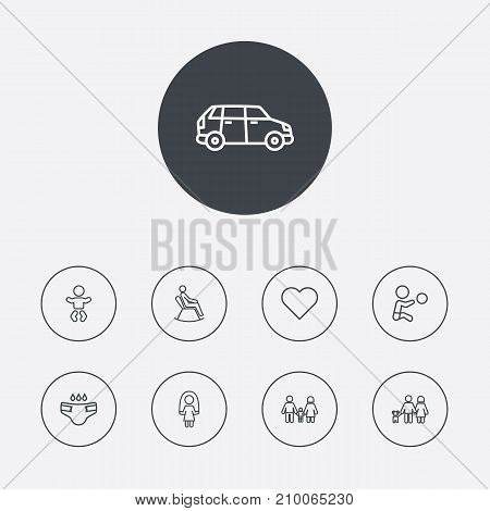 Collection Of Baby, Lovers, Skipping Rope And Other Elements.  Set Of 9 Relatives Outline Icons Set.