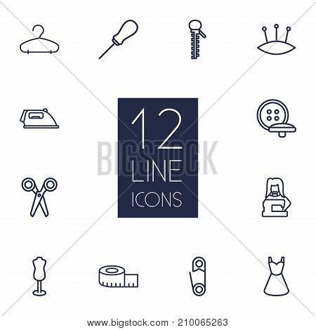 Collection Of Zipper, Awl, Buttons And Other Elements.  Set Of 12 Tailor Outline Icons Set.