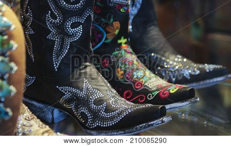 An Arrangement of Ladies Flashy Spangly Cowboy Boots