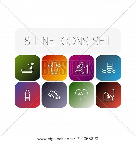 Collection Of Weight Loss, Trekking Shoes, Pulse And Other Elements.  Set Of 8 Bodybuilding Outline Icons Set.