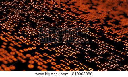 3d rendering. Binary computer code in dark orange colors with random highlights. Binary code background. Digital Abstract technology background