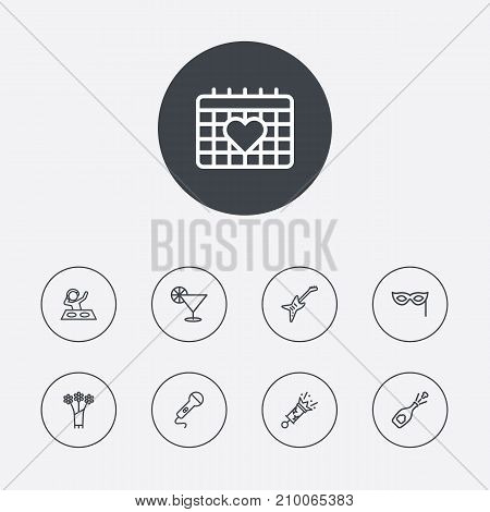 Collection Of Mask, Party, Cocktail And Other Elements.  Set Of 9 Cheerful Outline Icons Set.