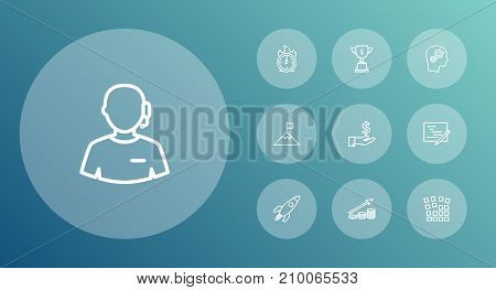 Collection Of Profit, Solution, Startup And Other Elements.  Set Of 10 Business Outline Icons Set.