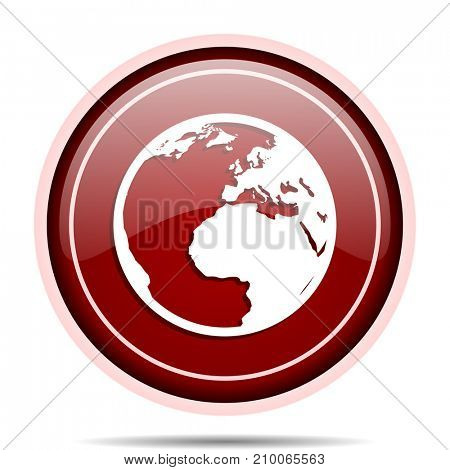 Earth red glossy round web icon. Circle isolated internet button for webdesign and smartphone applications.