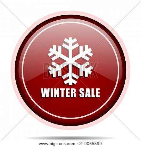 Winter sale red glossy round web icon. Circle isolated internet button for webdesign and smartphone applications.