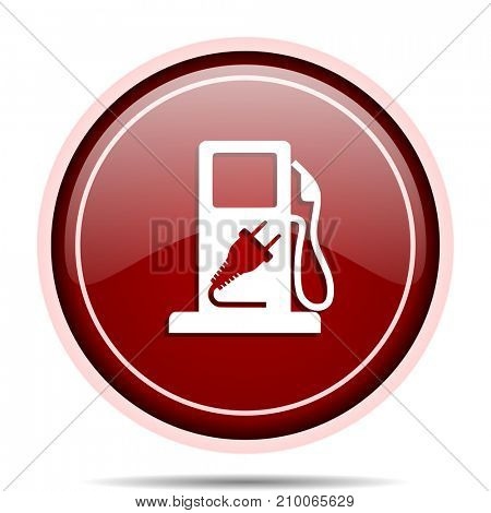 Fuel red glossy round web icon. Circle isolated internet button for webdesign and smartphone applications.
