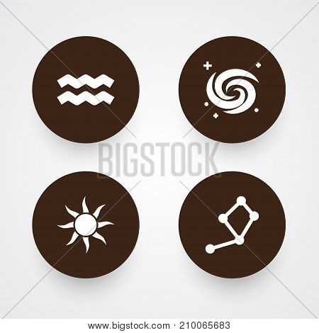 Collection Of Space, Solar, Water Bearer And Other Elements.  Set Of 4 Galaxy Icons Set.