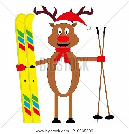 cartoon deer skier on white background illustration