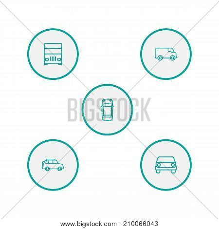 Collection Of Suv, Front View, Top And Other Elements.  Set Of 5 Shipping Outline Icons Set.