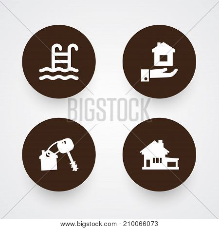 Collection Of Property, Pool, Home And Other Elements.  Set Of 4 Estate Icons Set.