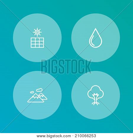 Collection Of Mountain, Sun Power, Wood And Other Elements.  Set Of 4 Ecology Outline Icons Set.
