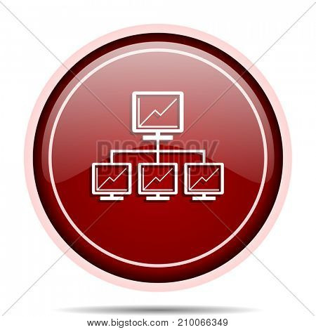 Network red glossy round web icon. Circle isolated internet button for webdesign and smartphone applications.