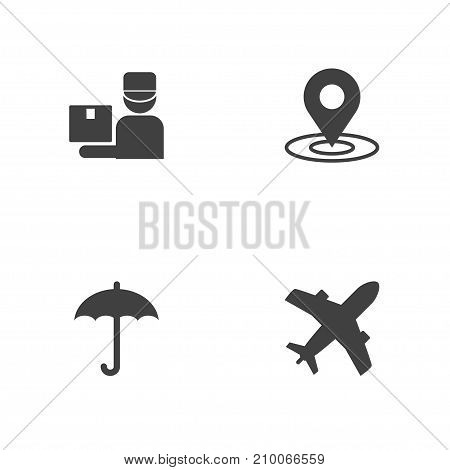 Collection Of Umbrella, Deliveryman, Gps And Other Elements.  Set Of 4 Delivery Icons Set.