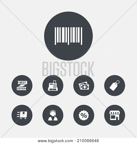 Collection Of Identification Code, Online Support, Cargo And Other Elements.  Set Of 9 Store Icons Set.