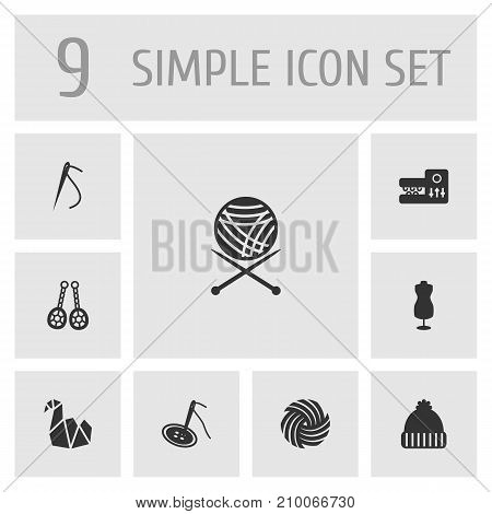 Collection Of Knitting Machine, Knitted Hat, Sewing And Other Elements.  Set Of 9 Handmade Icons Set.