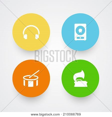Collection Of Tambourine, Amplifier, Turntable And Other Elements.  Set Of 4 Song Icons Set.